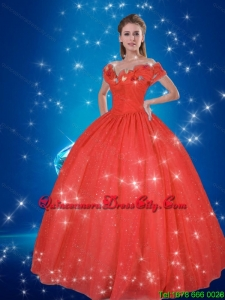 2021 Beautiful Hand Made Flowers Red Fashionable Cinderella Quinceanera Dresses