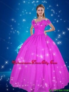 Fuchsia Cinderella Purple Fashionable Quinceanera Dresses with Off the Shoulder