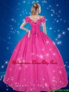 Puffy Off the Shoulder Floor-length Cinderella Luxurious Quinceanera Dresses