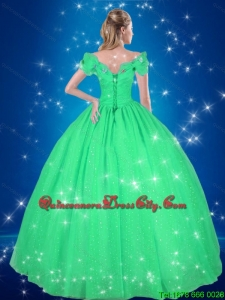 Simple Off the Shoulder Turquoise Fashionable Cinderella Quinceanera Dresses