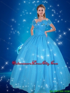 Unique Ball Gown Hand Made Flowers Blue Elegant Quinceanera Dresses
