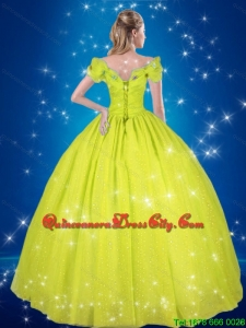 Yellow Green Ball Gown Cinderella High Fashion Quinceanera Dresses with Hand Made Flowers