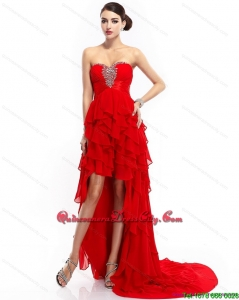 High Low Ruffled Layers Beading Red 2015 Dama Dresses