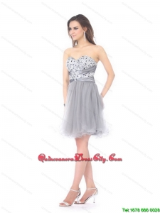 2021 New Style Luxurious Sweetheart Grey Dama Dresses with Rhinestones