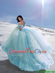 Gorgeous Off the Shoulder Cap Sleeves Court Train Quinceanera Dresses with Hand Made Flowers