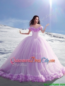 Popular Off the Shoulder Hand Made Flowers Sweet 16 Dresses in Lilac