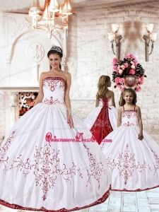White Strapless Princesita Dress with Red Embroidery for 2021
