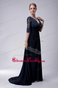 The Most Popular Appliques Navy Blue Mother of the Bride Dress For 2021