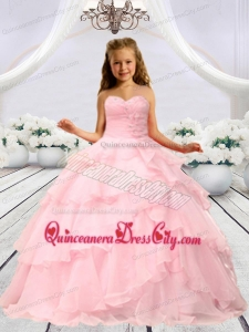Baby Pink Beaded Decorats Little Girl Pageant Dress with Layers
