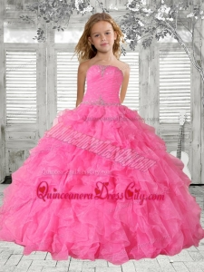 Beading Rose Pink Little Girl Pageant Dress with Ruffles