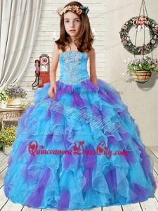 New Style Appliques Little Girl Pageant Dress with Ruffles in Purple and Blue