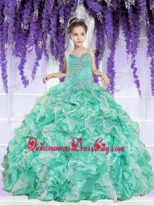 Ruffles and Beaded Decorate Little Girl Pageant Dress in Apple Green