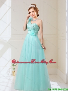 2021 Empire Lace Up Hand Made Flowers Dama Dresses in Mint
