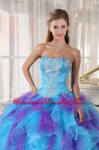 Baby Blue and Purple Ball Gown Strapless Floor-length Organza Appliques Quinceanera Dress