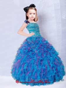Cute One Shoulder Beading Little Girl Pageant Dresses