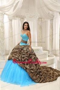 Wonderful Aqua Blue Ball Gown Renaissance Quinceanera Sets