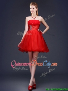 New Style Strapless Beaded and Ruched Short Dama Dress in Red