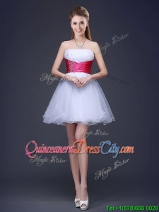 Popular White Short Dama Dress with Beading and Red Belt