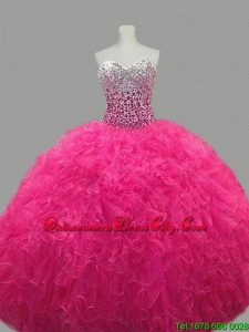2021 Fall Elegant Sweetheart Hot Pink Quinceanera Dresses with Beading and Ruffles