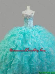 2020 Summer Elegant Beaded Sweetheart Quinceanera Dresses in Aqua Blue