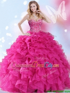Lovely Really Puffy Beaded Organza Hot Pink Quinceanera Dress with Ruffles
