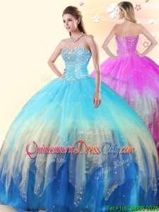 Perfect Puffy Skirt Beaded Tulle Rainbow Colored Quinceanera Dress
