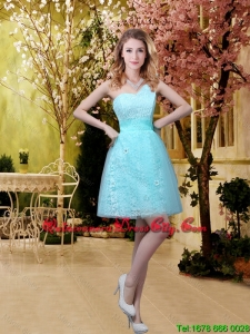 2020 Fall Perfect Scoop Beaded Dama Dresses with Appliques in Aqua Blue