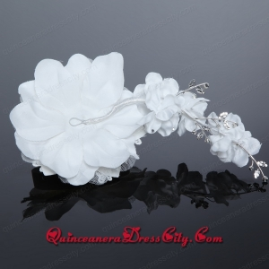 Pearl Lace and Tulle Wedding White Beading Hair Flowers
