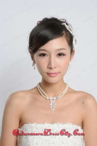 Amazing Alloy With Peals Wedding Jewelry Set Including Necklace Earrings And Headpiece