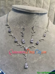Beautiful Beaded and Rhinestoned Jewelry Set in Silver