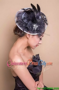 Exquisite Black Headpieces with Beading and Feather