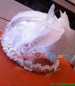 Gorgeous Feathers and Imitation Pearls Headpieces in White
