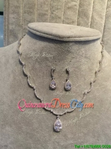 Latest Silver Jewelry Set with Rhinestone and Beading