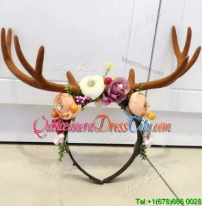 Lovely Multi Color Headpieces with Antlers and Hand Made Flowers