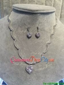 Romantic Silver Jewelry Set with Rhinestone and Beading