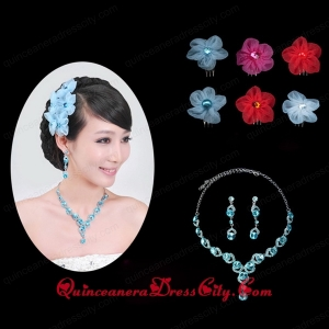 Blue Crystal Round Shaped Jewelry Set Including Necklace And Headflower