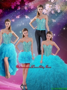 2020 Detachable Sweetheart Beaded and Ruffles Sweet 16 Dresses in Turquoise