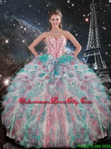 2020 Perfect Sweetheart Beaded and Ruffles Quinceanera Gowns in Multi Color