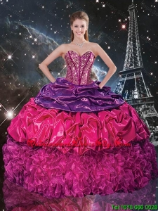 2020 Popular Beaded Multi Color Quinceanera Dresses with Pick Ups and Ruffles