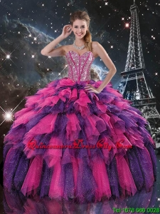 2020 Luxurious Beaded and Sweetheart Quinceanera Dresses in Multi Color