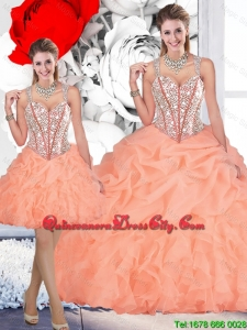 2020 Perfect Straps Orange Detachable Quinceanera Dresses with Beading