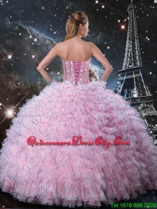 Cheap 2016 Pink Sweetheart Sweet 15 Dresses with Beading and Ruffles