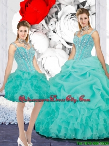 Elegant 2015 Fall Straps Ball Gown Detachable Quinceanera Dresses in Turquoise