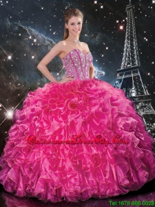 Feminine Floor Length Quinceanera Gowns with Beading and Ruffles