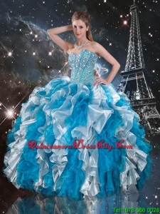Luxurious 2016 Beaded White and Blue Sweet 16 Gowns with Ruffles