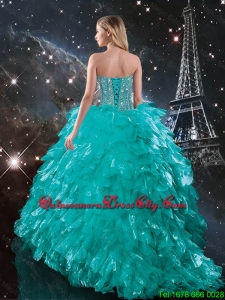 New Style Brush Train Turquoise Affordable Quinceanera Dresses with Beading and Ruffles