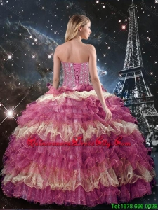 Perfect 2016 Beaded Multi Color Quinceanera Dresses with Ruffled Layers