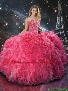 Perfect 2016 Coral Red Sweetheart Affordable Quinceanera Dresses with Beading and Ruffles