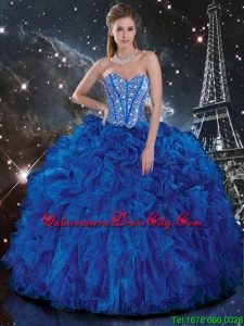 Popular 2016 Royal Blue Quinceanera Dresses with Beading and Ruffles