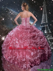 Top Seller Ball Gown Coral Red Sweet 16 Dresses with Ruffles and Beading